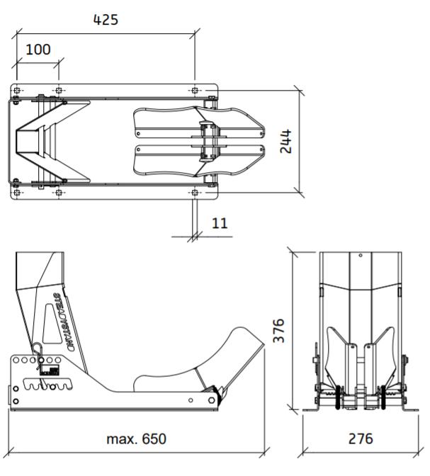 Motorsteun premium van SteadyStand Multi Fixed volledig verstelbaar technische tekening